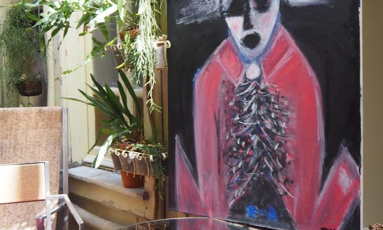 The Pirate, oil painting at Miramare art hotel Cagliari, Sardinia.