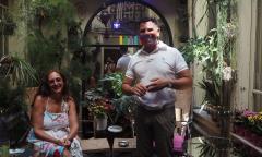 Art curator Bianca Laura Petretto and Mr. Guilano at Miramare arthotel in Cagliari, Saridinia